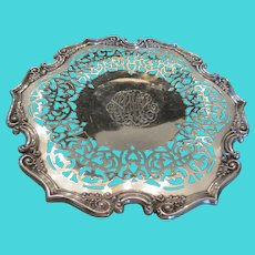 """10"""" antique sterling silver cake plate retailed by J.E. Caldwell & Co."""