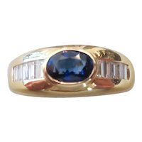 Late 20th century 18k yellow gold, sapphire and diamond ring