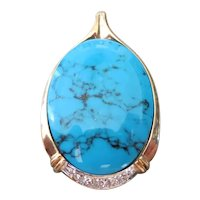 14k yellow gold, Turquoise and Diamond pendant