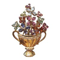 "18k Yellow Gold and multi gem set ""Urn with Flowers"" brooch"