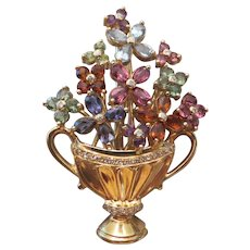 """18k Yellow Gold and multi gem set """"Urn with Flowers"""" brooch"""