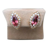 Pair of Italian 18k yellow gold, pink Tourmaline and diamond earrings