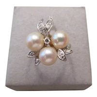 Vintage 14k white gold, cultured pearl and diamond cocktail ring