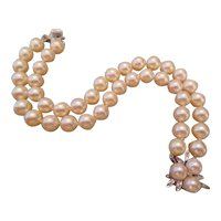 AKOYA Cultured Pearl two strand bracelet with pearl and diamond clasp