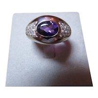 MAUBOUSSIN-PARIS 18k white gold, amethyst and diamond ring