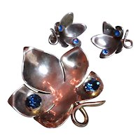 CALVAIRE Gold washed Sterling silver pin and earring set