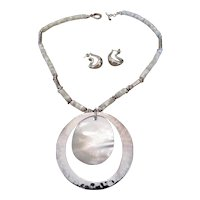 ROBERT LEE MORRIS Sterling silver and mother of pearl necklace and sterling silver earrings