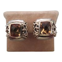 EFFY Sterling silver, 14k yellow gold and citrine earrings