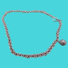 GOLF NECKLACE-unusual sterling silver necklace with golf ball and golf club toggle clasp