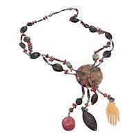 AUDREY DANIELS-Unique multi stone necklace with pendant