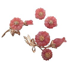 Faux Coral colored flower Pins and Earring set