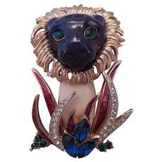 HATTIE CARNEGIE-Jungle Series rare blue Lion pin