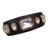 RODRIGO OTAZU-Wood and Swarovski crystal contemporary cuff bracelet