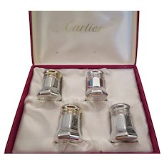 CARTIER-Boxed set of 4 sterling silver salt and pepper shakers