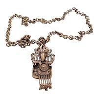 PAULINE TRIGERE-Vintage Mayan mask design pendant necklace