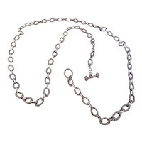 """SAMUEL B-large sterling silver link chain 44"""" long with toggle clasp"""