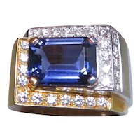 1980's Italian made 18k Iolite and Diamond ring
