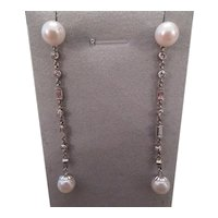 Dramatic Long 14k White Gold, Diamond and pearl earrings