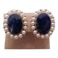 Vintage 14k yellow gold lapis and pearl earrings