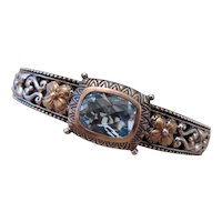 BARBARA BIXBY Sterling Silver, 18k y.g. and blue topaz bracelet