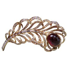 E. WOLFE & CO.-Spectacular Diamond and Rubelite feather brooch