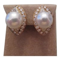 South Seas Pearl, 18k yellow gold and diamond earrings