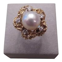 Large Cultured Pearl and 14k y.g. and diamond ring