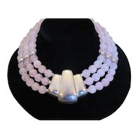 ROSE QUARTZ -Triple strand necklace with sterling silver center