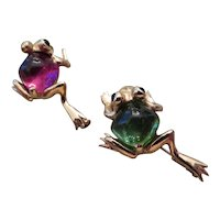 E. WOLFE & CO.-LONDON-pair of 18k y.g. and tourmaline frog pins