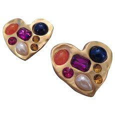 Pair of 1980's DON-LIN  costume and faux gem set heart shaped pins