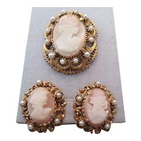 Vintage FLORENZA Cameo pin, necklace and earring set