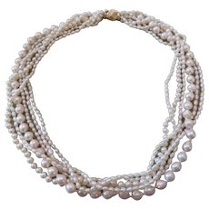 Cultured pearl Torsade with 14k yellow gold and Diamond clasp