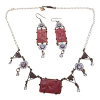GLASS WORKS STUDIO necklace and earring set