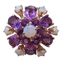 14k Yellow Gold, Opal and Amethyst cluster ring