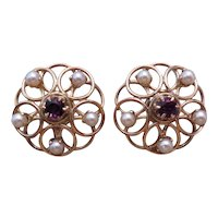 Mid-Century 14k yellow gold, amethyst and pearl earrings