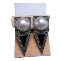 JUDITH JACK Sterling Silver, marcasite and faux mabe pearl earrings