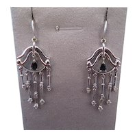 Stunning contemporary ITALIAN 18k white gold, diamond and sapphire earrings