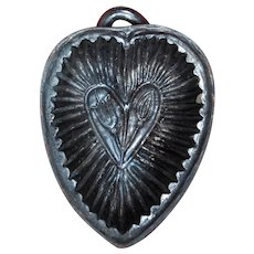 Antique Heart Mold ~ French Alsace Pottery ~ Wedding Cake
