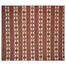 Glazed CHINTZ Antique Quilt ~ 1800s Museum Quality ~ HUGE