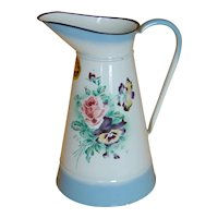 French Enamel Japy Body Pitcher ~ Original Label Rose Pansy