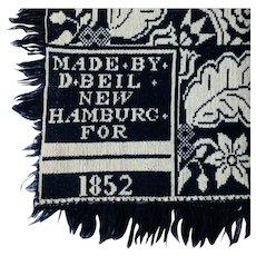 Woven Indigo Jacquard Coverlet 1852 ~ Signed Daniel Beil