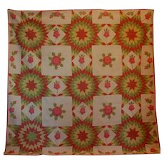 Trapunto American Quilt ~ Applique and Pieced Stars and Roses