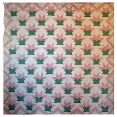 Cactus Basket Quilt c.1930 ~ Small Scale