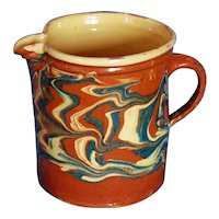 French Jaspe Antique Savoie Pitcher ~ Blues and Cream
