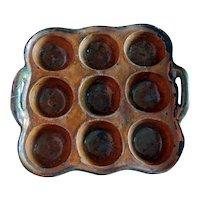 RARE 19thc Redware 9 Hole Mold ~ Muffin Baking Pan