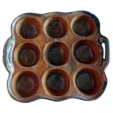 RARE 19thc Redware 9 Hole Mold ~ Muffin Baking Pan