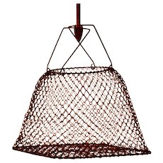 French Vintage Wire Mesh Collapsible Fisherman Basket