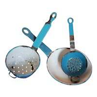 Toy Child Doll 3 piece French Vintage Cookware Enamelware