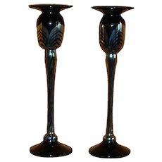 Art Glass ~ Pair of  Tall Candlesticks ~ Correia Studio ~ Signed