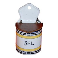 French Enamel Ware Salt Box ~ Yellow & Black Vintage